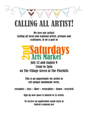 Pinehills Call for Artists!!! July 12 & August 9th